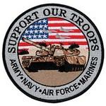 "!!DISC!! 5"" ""SUPPORT OUR TROOPS"" EMBROIDERED EMBLEM HP8430"