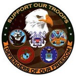 "!!DISC!5"" ""SUPPORT OUR TROOPS"" PRINTED WINDOW CLING(PEEL OFF HP8447"