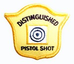 DISTINGUISHED PISTOL GOLD SEW-ON PATCH PG60