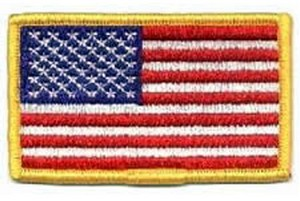 """!!DISC!! 3-3/8 X 2"""" EMBROIDERED AMERICAN FLAG HP0001"""